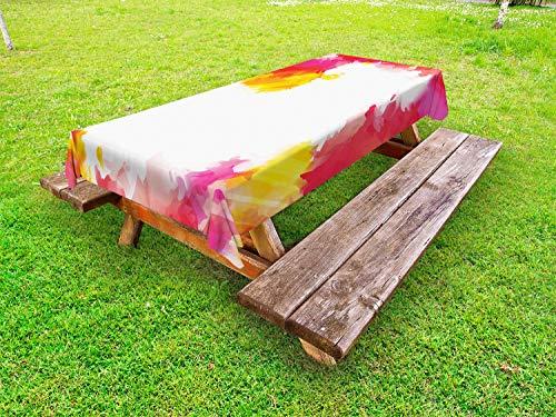 ABAKUHAUS Orange und Rosa Outdoor-Tischdecke, Farbspritzer Kunst, dekorative waschbare Picknick-Tischdecke, 145 x 210 cm, Mehrfarbig