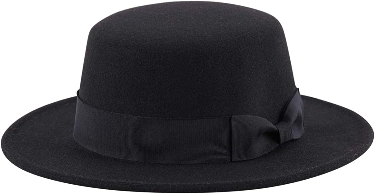 Lanzom Womens Ladies Retro Wide Brim Floppy Panama Hat Belt Wool Fedora Hat
