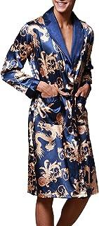 caf4588b6e FLYCHEN Men s Kimono Robe Floral Long Loungewear Spa Nightwear
