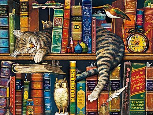 Safiman Puzzle per Adulti, 300 Pezzi Libreria Gatto Puzzle Classico Puzzle per Bambini Adulti Edifici Fai da Te Decorazioni per La Casa Regalo Festival Gioco Intellettuale Wall Art 38X26Cm
