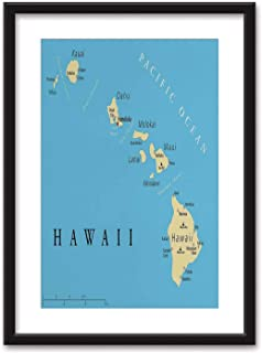 Hawaiian Decorations Bedroom Black and White Structure Canvas Prints,Map of Hawaii Islands with Capital Honolulu Borders Important Cities and Volcanoes for Home Decoration Ready to Hanging,16''x20''