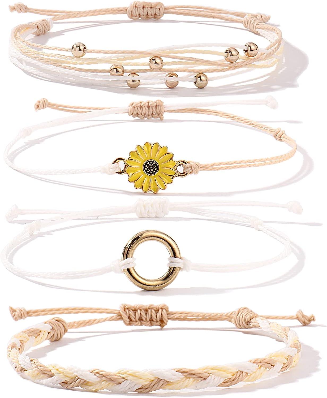 FANCY SHINY Sunflower String Bracelet Handmade Braided Rope Char