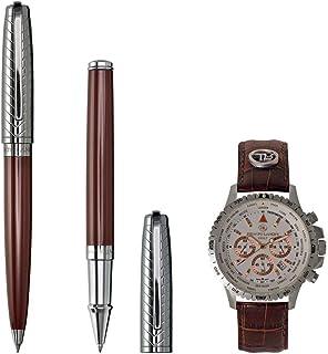 Renato Landini Men's Stylish Leather Watch & Pen Set [RP9050 BRM]