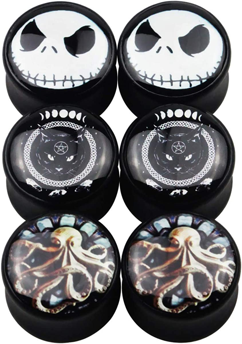 Awinrel Ear Gauges Black Wood Saddle Ear Plugs Tunnels Stretching Skull Octopus Cat Expander Body Piercing Jewelry 6 Pieces