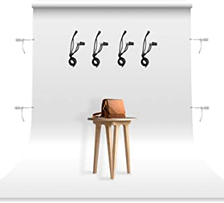 JS JULIUS STUDIO 6 x 9 ft. / 1.8 x 2.8 M / White Screen Fabric 100% Pure Backdrop Background with String Clips for Photo V...