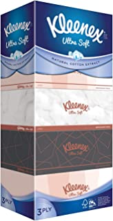 Kleenex Ultra Soft Facial Tissue, 3 PLY, Vintage, 100ct, Pack of 5