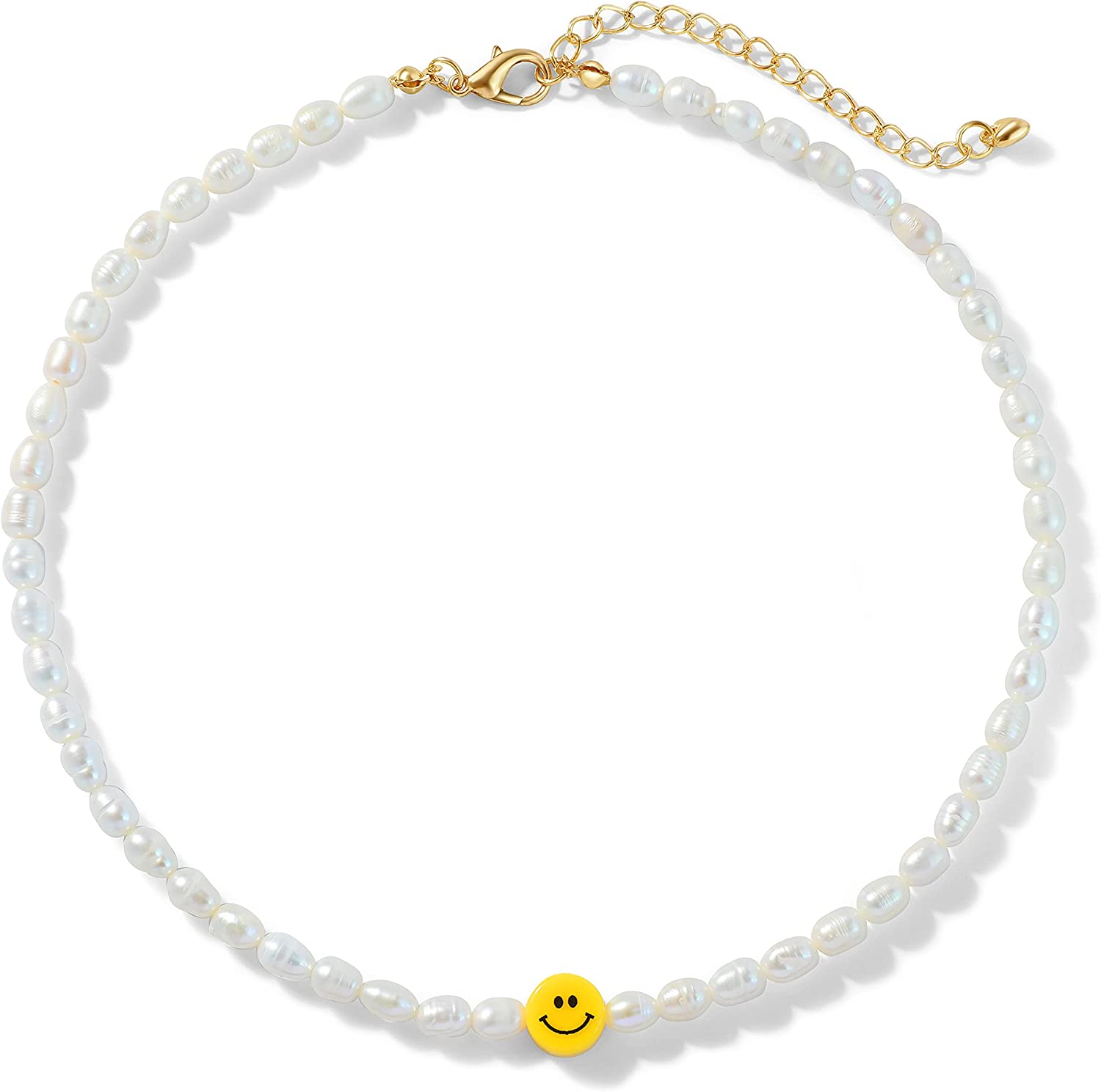 Buleens Freshwater White Pearl Beaded Necklace for Women Created Opal Choker Cute Butterfly Pendant Evil Eye Sunflower Summer Crystal Colorful Small Bead Necklaces Girls Thin Flower Smiley Face Strawberry Daisy 90s Simple Jewelry Trendy Dainty Womens Teen