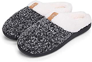 Afarmart Men's Comfy Memory Foam Slippers Fuzzy Plush Wool-Like Clog House Shoes Indoor Outdoor Anti-Skid Rubber Sole