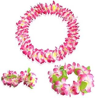 Yansanido Pink Hawaiian Flower Leis Jumbo Necklace Bracelets Headband Set with Leaf for Luau Party Decoration Supplies Hawaiian Luau Party Decoration Supplies