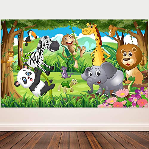 Blulu Decoraciones de Fiesta Temática de Selva, Póster de Fiesta de Cumpleaños de Tela Extra Grande, Pancarta de Fonda de Safari de Selva, Foto Props de Animal de Selva