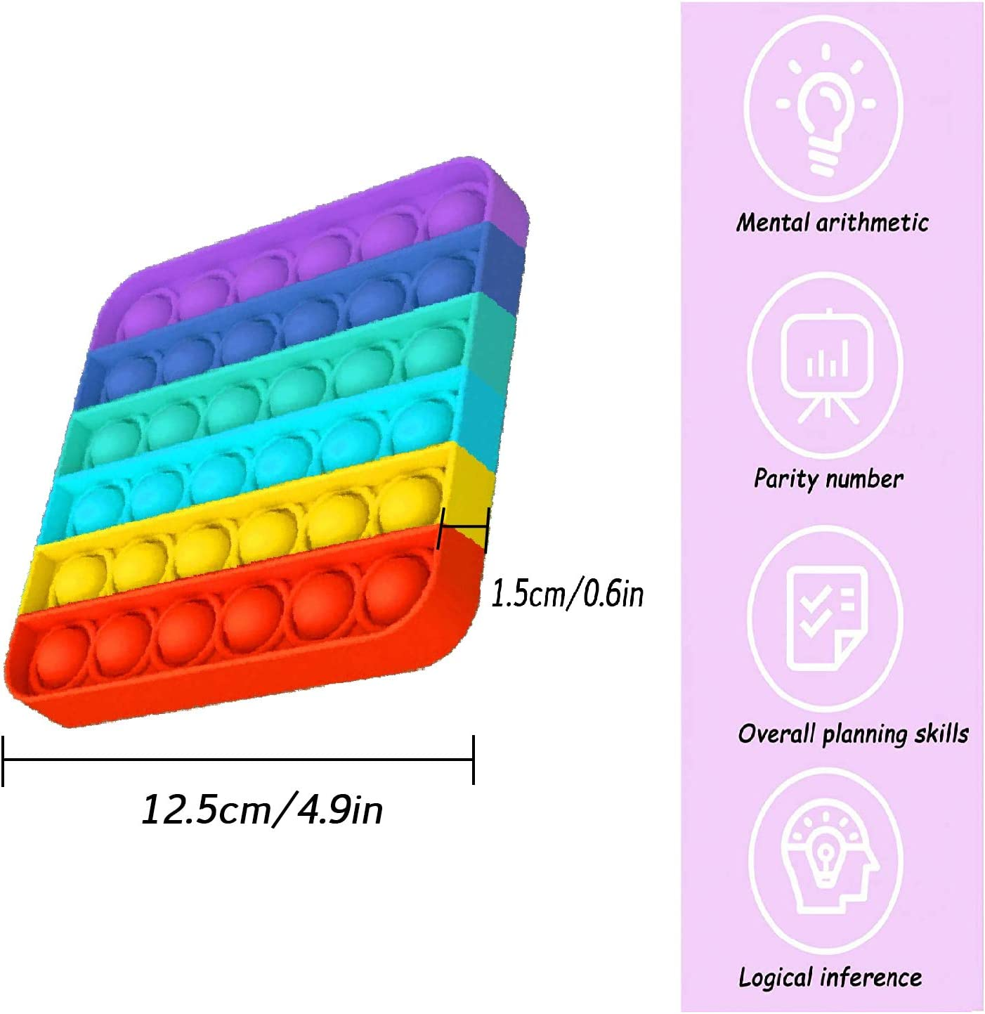 for Training Logical Thinking Squeeze Sensory Toy Colourful- Square Anxiety Toys Relieve Stress Toy Push Pop Bubble Fidget Toy
