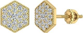 Hexagonal Shape Pavé Diamond Cluster Stud Earrings ½ ctw 14K Solid Gold (I,I1)