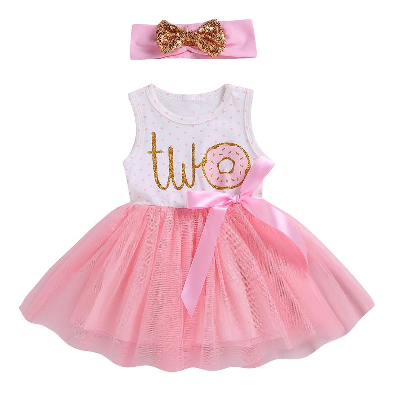 女の赤ちゃん 最初 お誕生日 ドレス ドーナツ ピンク ちょう結び チュール チュチュ ドレス とヘッドバンドの衣装セットツーピース (2-3 Years, Two)