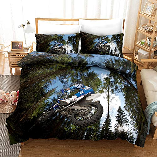 B/A Duvet Cover Set Motocross 3 PCS with Zipper Closure Non-Iron Polyester Easy Care Soft Microfiber Bedding Set plus Pillowcases Fade & Stain Resistant 78.74 x 78.74 inch