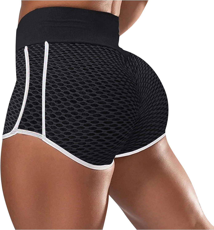 Biker Shorts for Women,Women's High Waisted Workout Scrunch Bottom Shorts Ruched Yoga Shorts Butt Lift Trousers