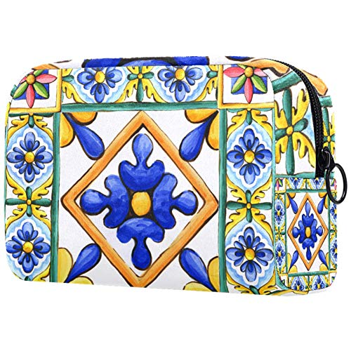 Lovely Style PVC Large Capacity Cosmetic Bag,Portable Travel Cosmetic Bag Storage Bag,Ornaments on The Tiles Watercolor Spain Italy Majolica Floral Ornament