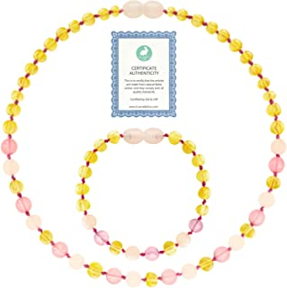 Amber Necklace and Bracelet Set (13in + 5.5in) | GIA Certified 100% Pure Baltic Amber - Unisex (Baroque Lemon/Pink Jade/Rose Quartz Amber Jewelry Set)