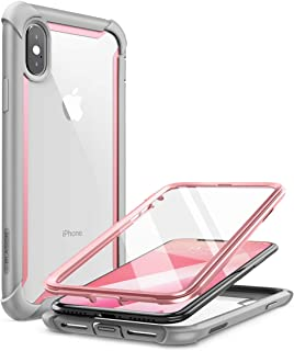 iPhone Xs Max Case, i-Blason [Ares] Full-body Rugged Clear Bumper Case with Built-in Screen Protector for iPhone Xs Max Case 6.5 Inch, Pink