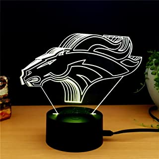 Denver Broncos Light 3D LED Night Light Lamps by King's Bridal A Great Nightlight with a Soft Glow for Kids Home Decor Lamp Football Fans Gifts to Boys Adults Friends