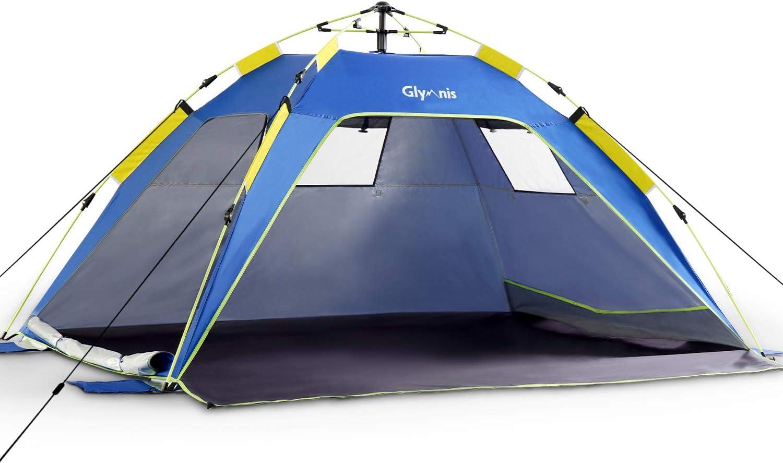 Glymnis Tienda de Playa Tienda Pop Up Portátil Tienda Instantánea Fácil de Instalar para 4 Personas con UPF 50+ Gran Tamaño 215 x (150+20) x 115 cm