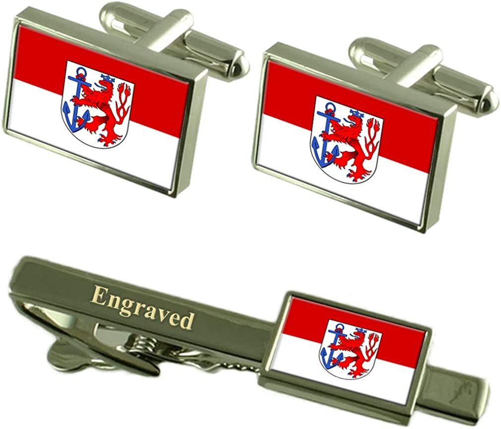Select Gifts Dusseldorf City Cash special price Germany Engraved Flag quality assurance Tie Cufflinks