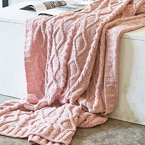 Liveinu Couverture Tricot de Coton Couvre-Lit Mérinos élégante pour Chaise Housse de Canapé Canapé et Lit Rose 130x180cm
