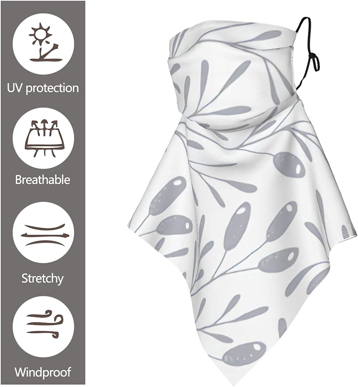 Berry Branch White and Gray Neutrals Sun Protection Ear Loops Neck Gaiter Scarf for Outdoor with 10 Filter