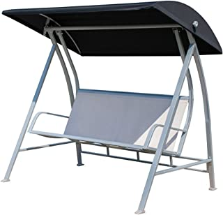 PatioPost Outdoor Swing Canopy Sling Chair 3 Seats with Steel Frame Patio Deck Furniture