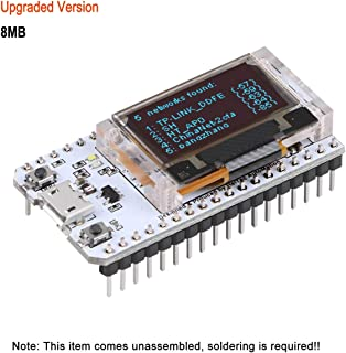 MakerFocus ESP32 Development Board Upgraded Version 8MB Flash, ESP32 WiFi Bluetooth, ESP32 OLED 0.96 Inch OLED Display CP2102 Internet for Arduino ESP8266 NodeMCU