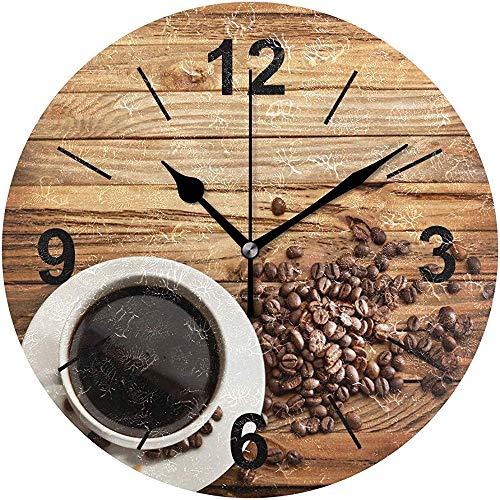 L.Fenn Wandklok, rond, koffie, hout, kop, eten en drankjes, diameter stil, decoratief voor thuis, kantoor, keuken, slaapkamer
