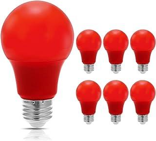 JandCase Red Light Bulb, 5W(40W Equivalent), A19 Christmas LED Light Bulbs with E26..
