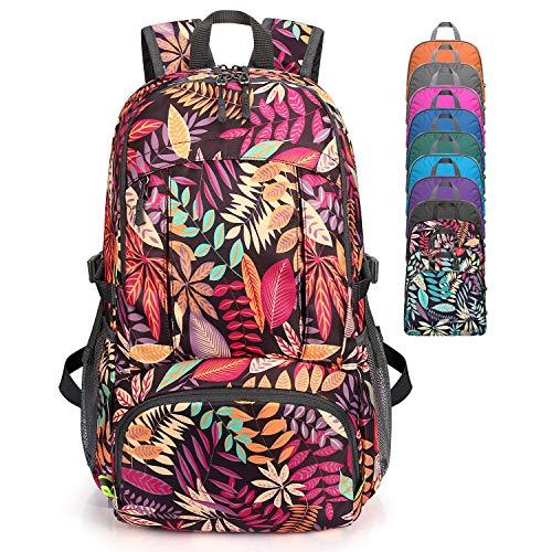 G4Free - Mochila de senderismo ligera (40 L, impermeable, con bolsillo mojado, práctica plegable, para acampar al aire libre, color negro y morado