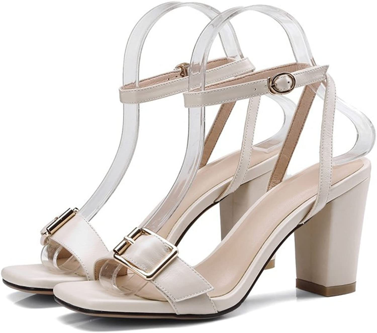 LZWSMGS Women's Open Toe Sandals One Buckle with High Heels Fashion Thick with High Heel Roman shoes Work Professional shoes Ladies Sandals (color   Creamy-White, Size   37 EU)