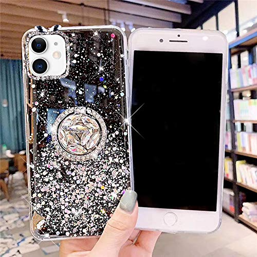 Carcasa para iPhone 11, con soporte para anillo de diamante brillante y purpurina transparente, silicona TPU, color negro