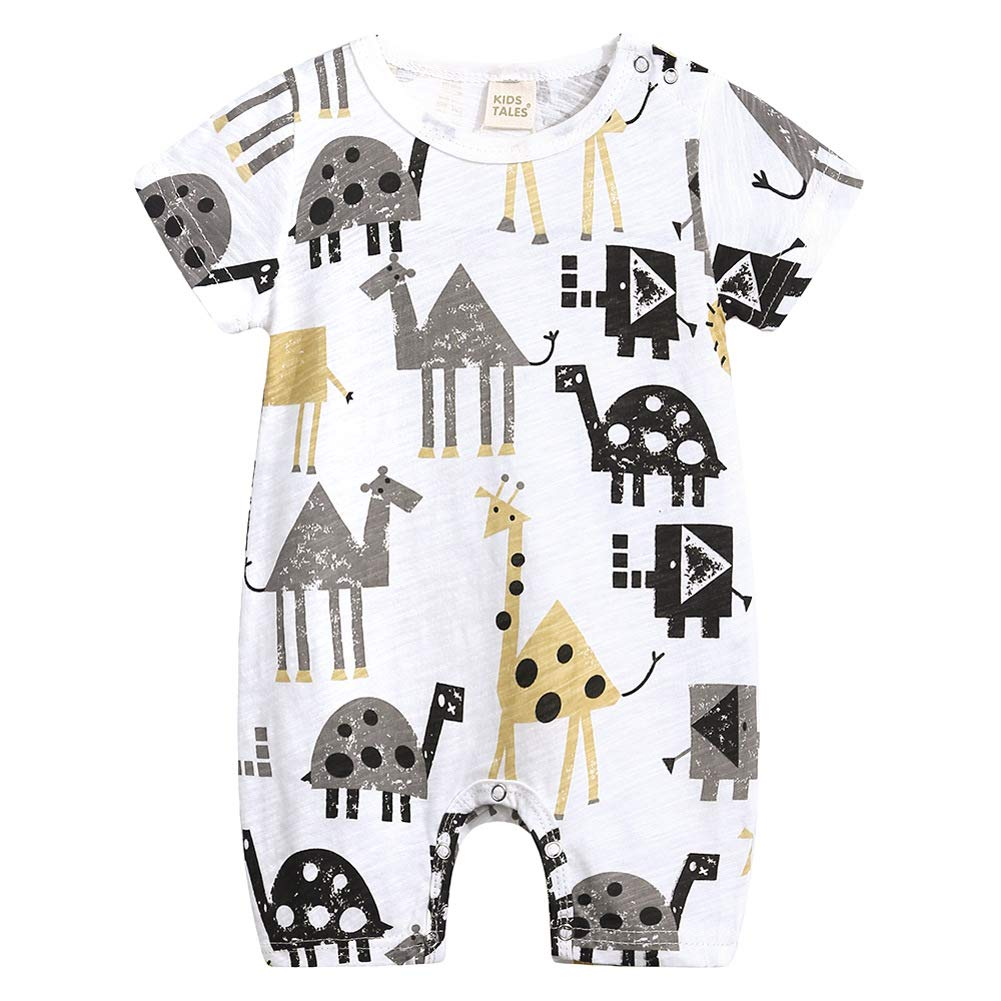 Simplee kids Baby Boy Outfits Short Sleeve Clothing Set Print Cartoon Baby Summer Romper 0-2Y