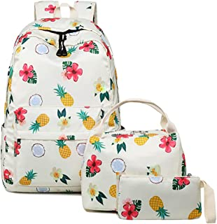 Bookbag School Backpack Girls Cute Schoolbag for 15 inch Laptop backpack set (White A960 Floral pineapple)