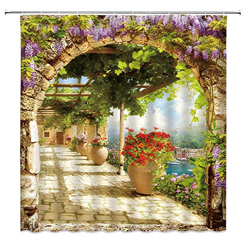 Purple Flower Shower Curtain Wisteria Flower Country Style Green Leaf Arch Mediterranean Town Italian Natural Scenery Fabric Bathroom Fabric Bathroom Set with Hook 70x70 Inches, Green Purple Beige