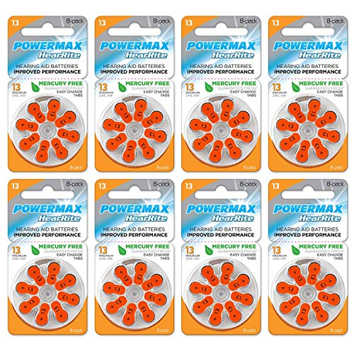 Powermax Size 13 Hearing Aid Batteries, Orange Tab, Made In the USA, 64 Count
