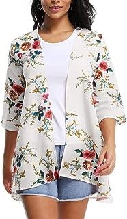 MARI CIAS Women's 3/4 Sleeve Floral Chiffon Boho Loose Kimono Cardigan Capes