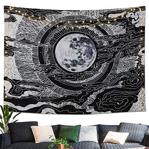Dremisland Mond und Stern Wandteppich Wandbehang Mandala Tuch Wandtuch Tarot Tapisserie Schwarz Weiss Wandkunst für Wohnzimmer Schlafzimmer Dekor (L/148x200cm)