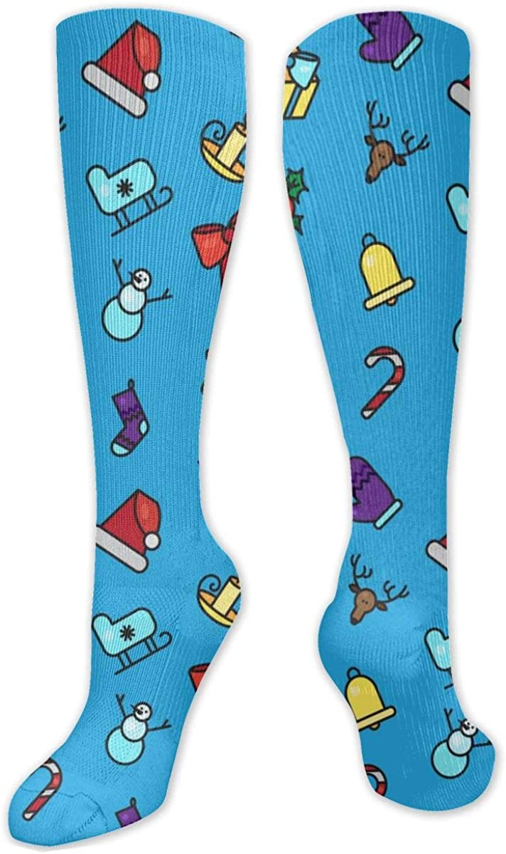 Cartoon Christmas Seamless Knee High Socks Leg Warmer Dresses Long Boot Stockings For Womens Cosplay Daily Wear