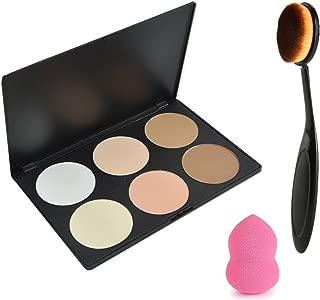 Vodisa 6 Colour Contour Face Powder Kit-Base Foundation Corrector Palette-Sleek Pigment Pro Concealer Palette-Cosmetics Highlighting Contouring Bronzing with Oval Make Up Brushes Set-Makeup Sponge