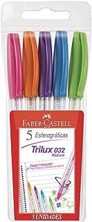 Caneta Trilux Cartela com 5 Cores, Faber-Castell, 032/ESC, Multicor