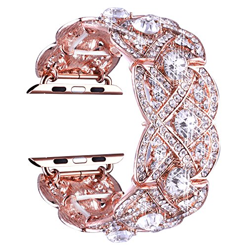 VIQIV Bling Bands for Apple Watch 40mm 44mm Iwatch Series 4 3 2 1, Diamond Rhinestone Stainless Steel Metal Bracelet Wristband Strap for Women