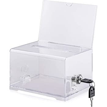 Polmart Clear Suggestion/Business Card Drawing Box with Sign and Lock
