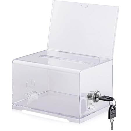 Clear Azar 206008 Small Molded Suggestion Box with Pocket Lock and Key