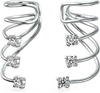 Minimalist Triple Spiral CZ Wire Cartilage Ear Cuff Wrap Earring
