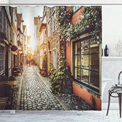 Ambesonne City Shower Curtain, Old Town Photography Europe Scenes Vintage Buildings Cafes Cool Architecture, Cloth Fabric Bathroom Decor Set with Hooks, 70 Long, Pale Orange