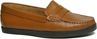 Driver Club USA Women's Leather Made in Brazil Penny Loafer Deck Shoe Boat, tan Grainy/Black Sole, 5.5 M US