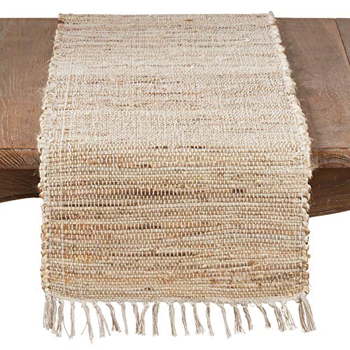 SARO LIFESTYLE Natural Collection Jute Chindi Table Runner With Fringed Trim, 16